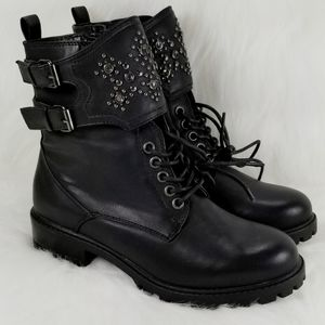 Mia Perry Embellished Faux Leather Combat Boots